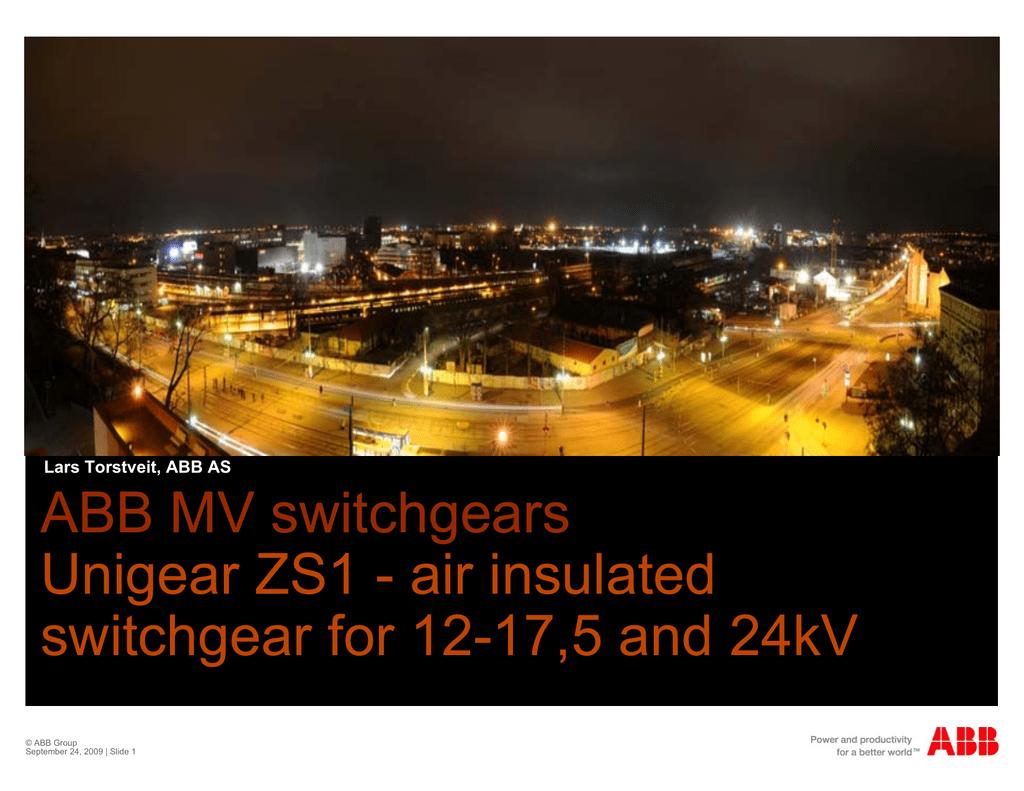 ABB MV switchgears Unigear ZS1 - air insulated switchgear for 12