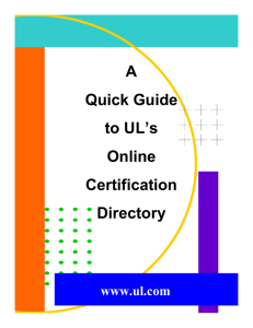 A Quick Guide to UL`s Online Certification Directory