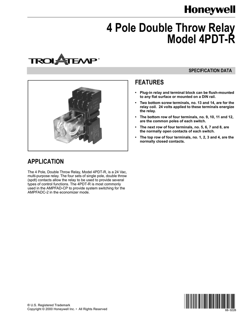 68 0228 4 Pole Double Throw Relay Model 4pdt R Wiring Diagram