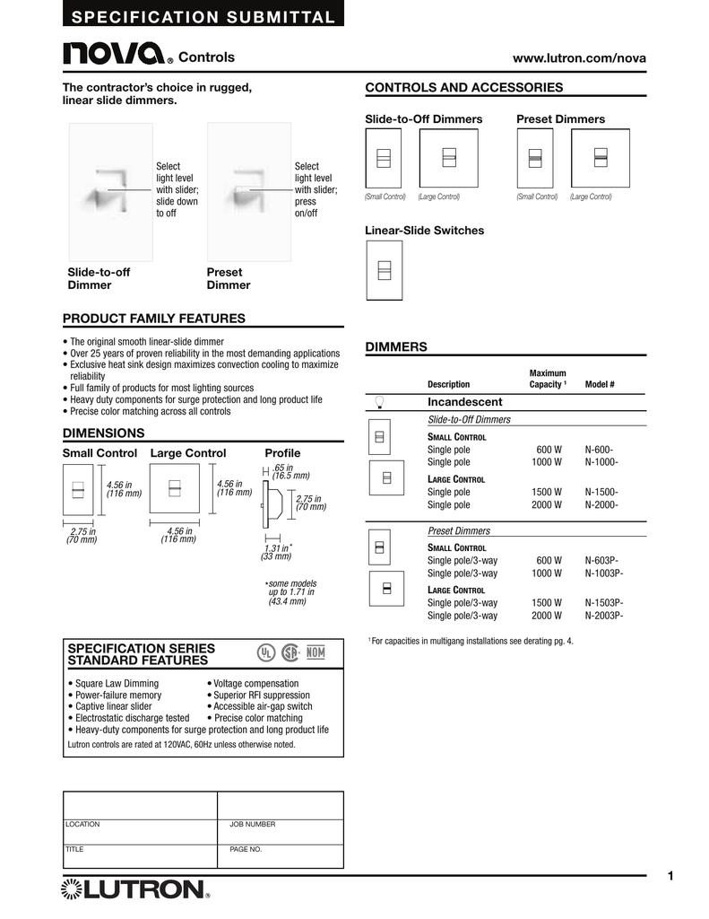 Lutron Nova N 600 Iv Dimmer Spec Sheet Three Way Switch Miswired