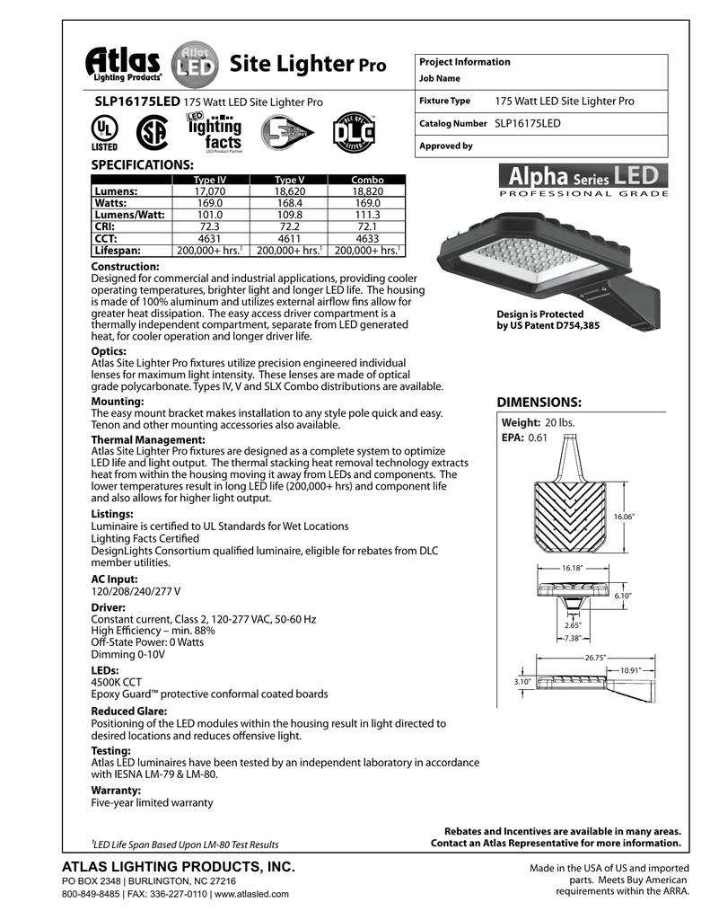 Slp16175led Cut Sheet Atlas Lighting Products