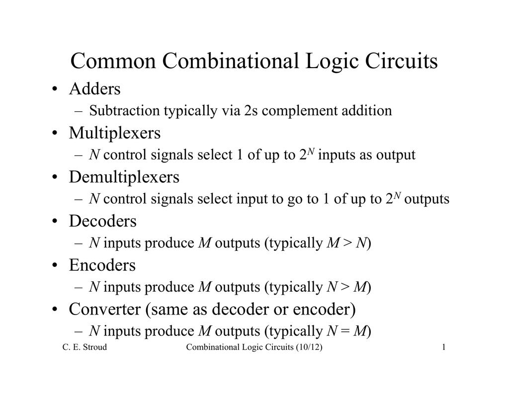 Common Combinational Logic Circuits Diagram Mux