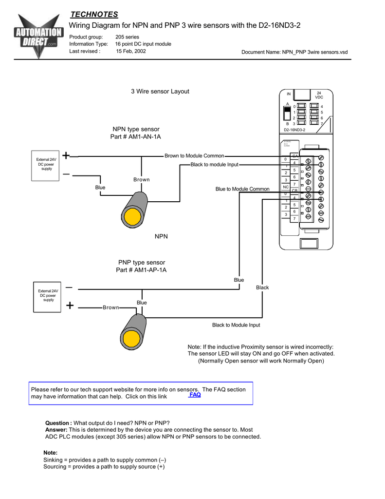 wiring diagram for npn and pnp 3 wire sensors and d2 16nd3 2