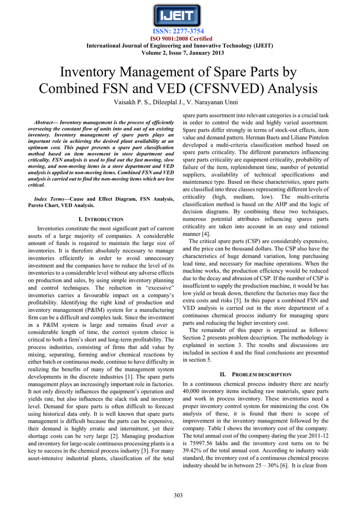 Inventory Management of Spare Parts by Combined FSN and VED