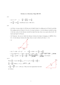 Section 4.1, Exercises, Page 269–271 • 2 – (a) A = πr ⇒ dA dt = dA