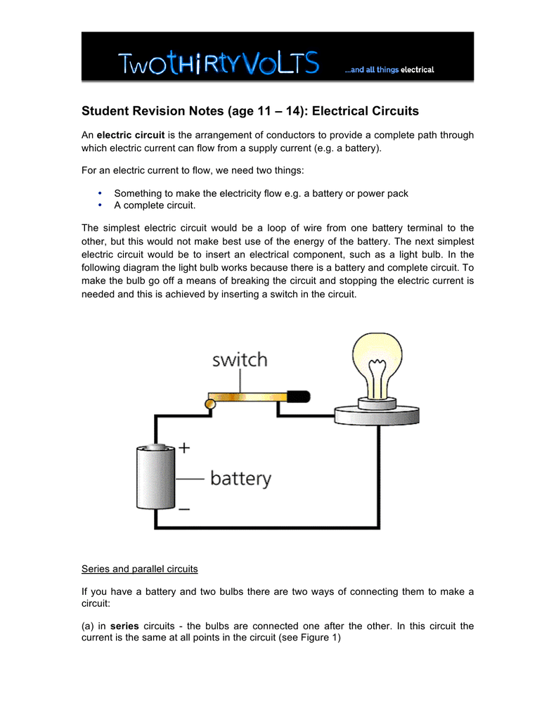 Student Revision Notes Age 11 14 Electrical Bulbs In Series Circuit