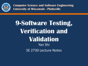 8-Software Testing, Verification and Validation