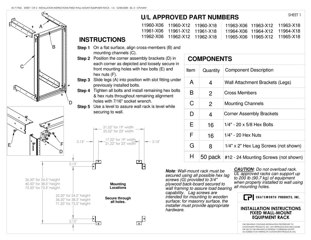 Standard Swing Gate Wall Rack 6 Installation Instructions