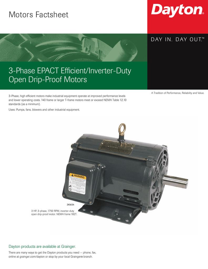 Motors Factsheet 3-Phase EPACT Efficient/Inverter