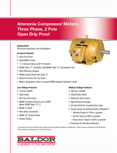 Ammonia Compressor Motors Three Phase, 2 Pole Open Drip Proof