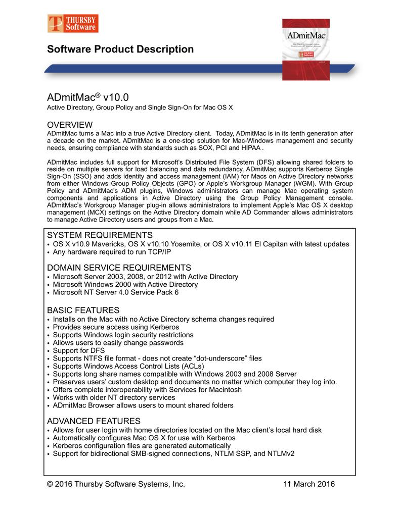 ADmitMac® v10 0 Software Product Description