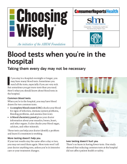 Blood tests when you`re in the hospital