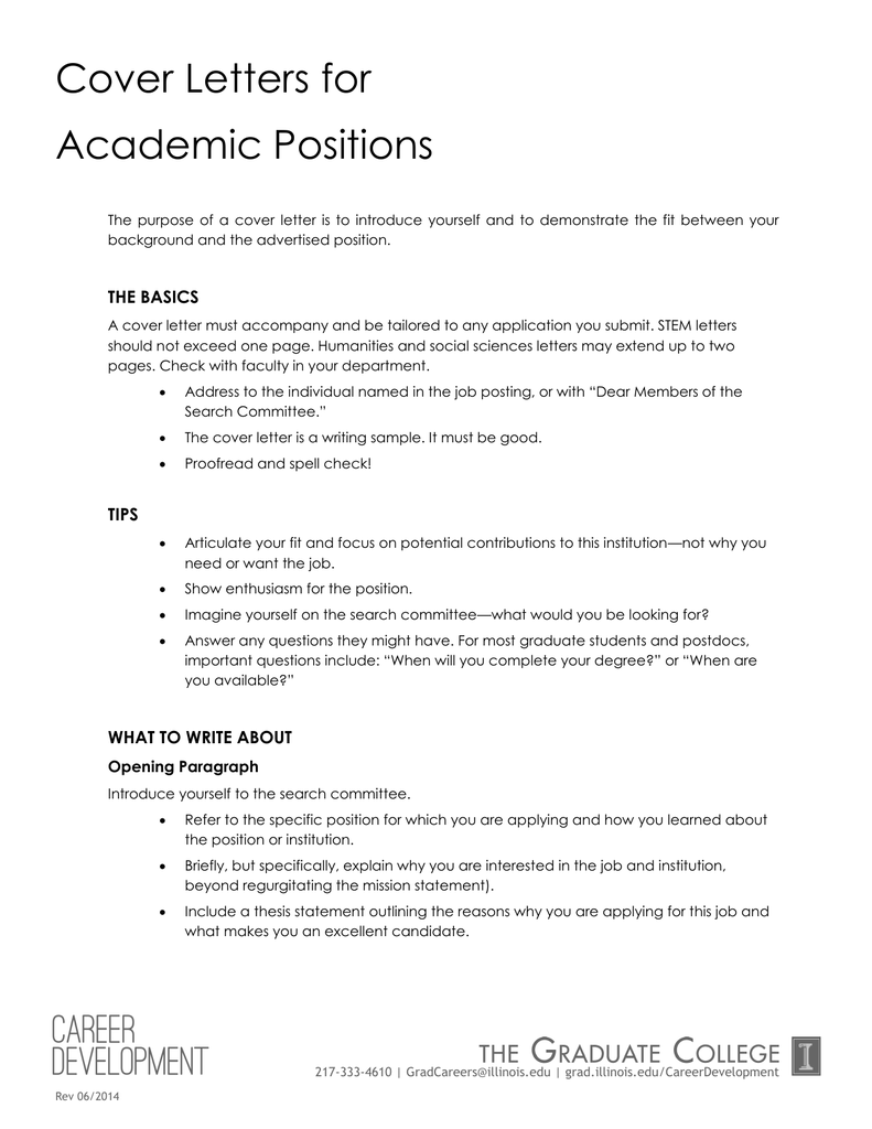 Cover Letters for Academic Positions
