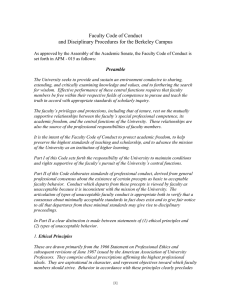 Faculty Code of Conduct and Disciplinary Procedures