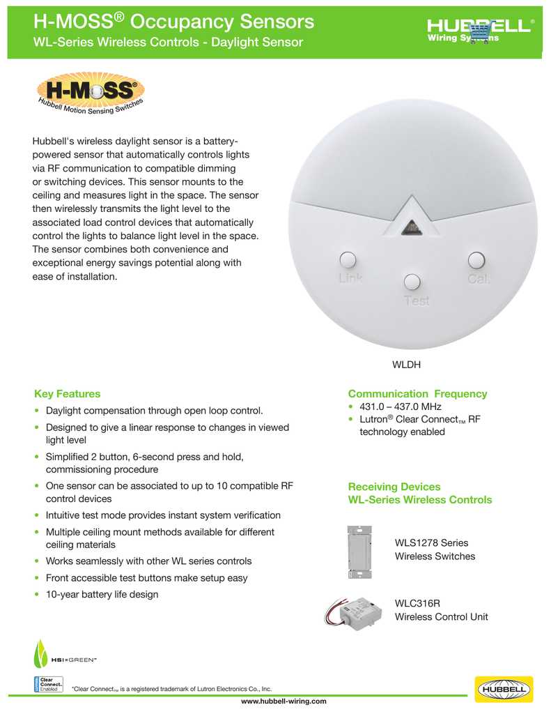 WL-Series Wireless Controls - Daylight Sensor on