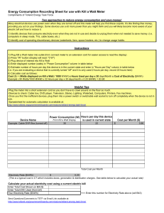 Energy Consumption Recording Sheet for use with Kill a Watt Meter