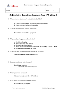 Solder Intro Questions Answers from IPC Video 1