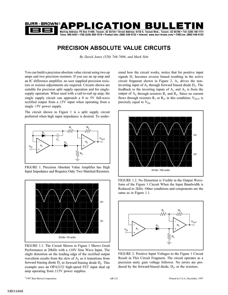 1 3 4 Precision Absolute Value Circuits Wide Bandwidth Jfet Op Amps