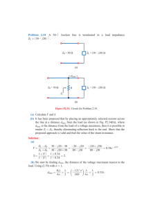 Problem 2.34 A 50-Ω lossless line is terminated in a load impedance