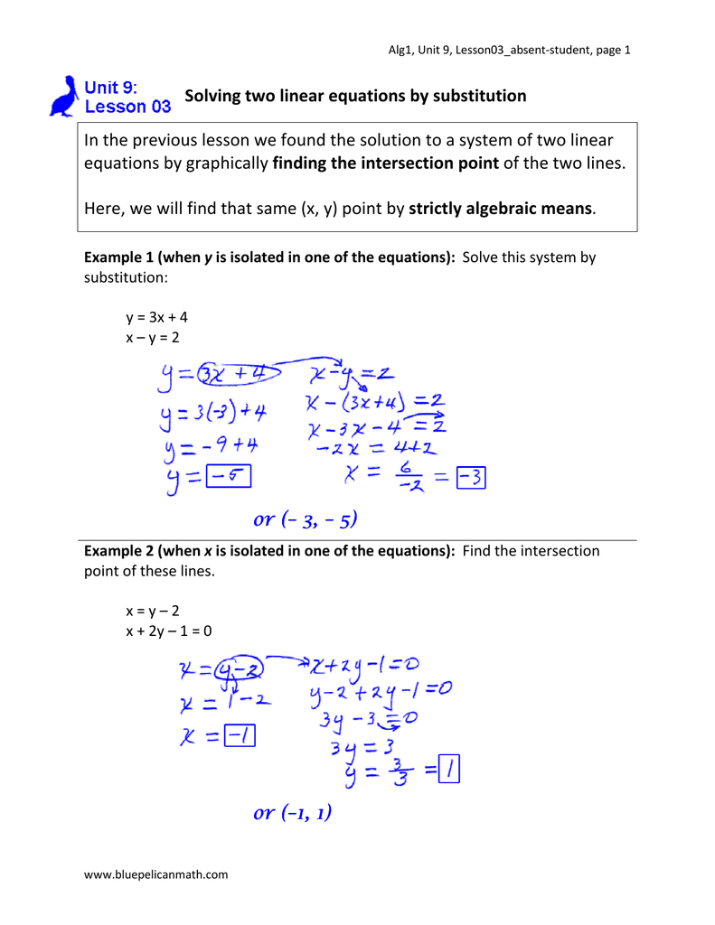 solving two linear equations by substitution in the rh studylib net unit 5 lesson 9 equations and two step word problems unit 5 lesson 9 equations and two step word problems