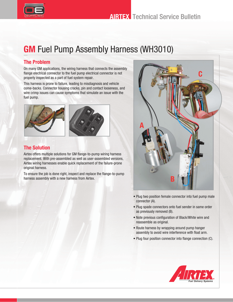 Gm Fuel Pump Assembly Harness Wh3010 Wiring