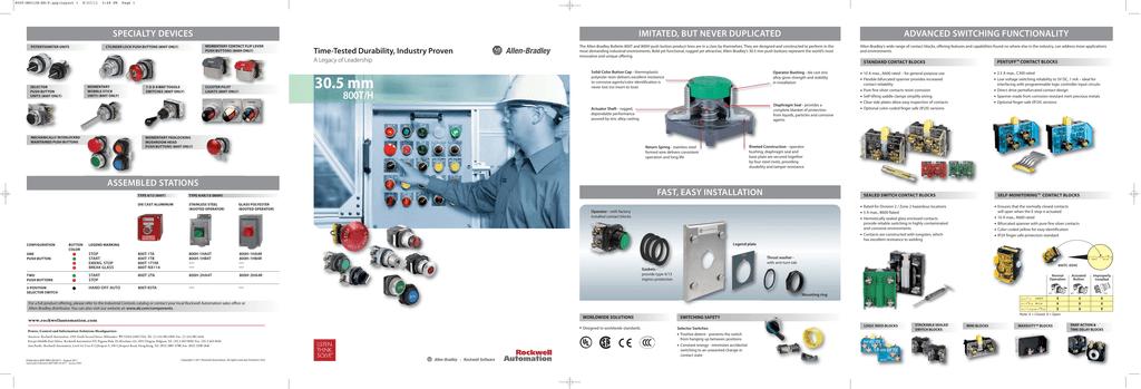 Bulletin 800T/H 30 5 mm Push Button Brochure