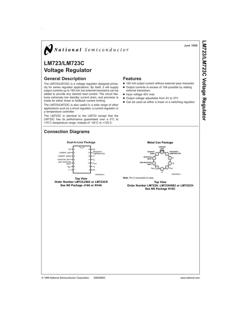 Lm723 Lm723c Voltage Regulator Lm380 Datasheet Audio Power Amplifier