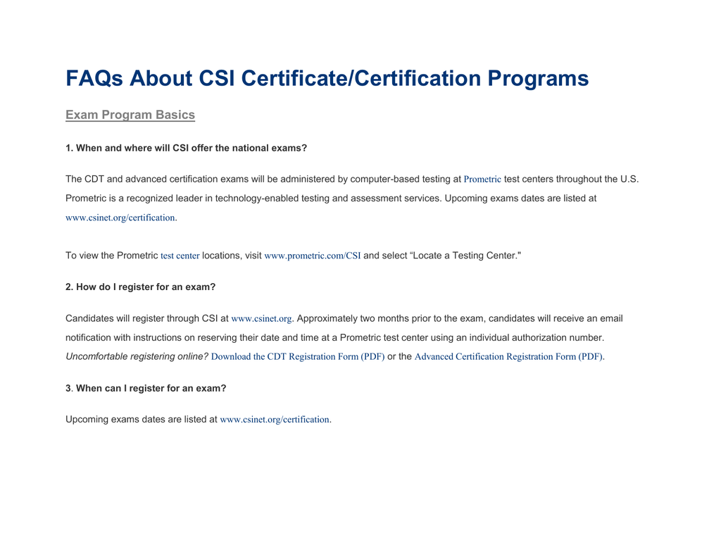 Faqs About Csi Certificatecertification Programs
