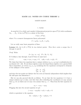 MATH 115: NOTES ON CURVE THEORY 2 1. Lines As usual let k