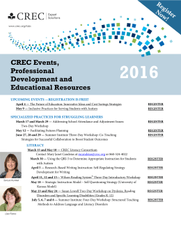 CREC Events, Professional Development and Educational Resources
