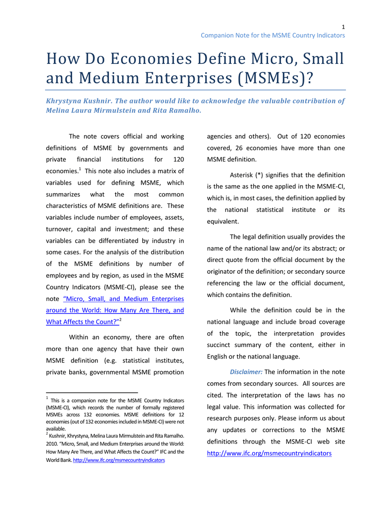 How Do Economies Define Micro, Small and Medium Enterprises