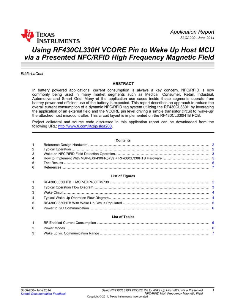 Rf430cl330h Vcore Pin Wake Up Mcu Via Rf Detector Circuit Diagram