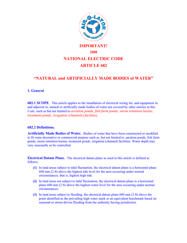 IMPORTANT! NATIONAL ELECTRIC CODE ARTICLE 682 on