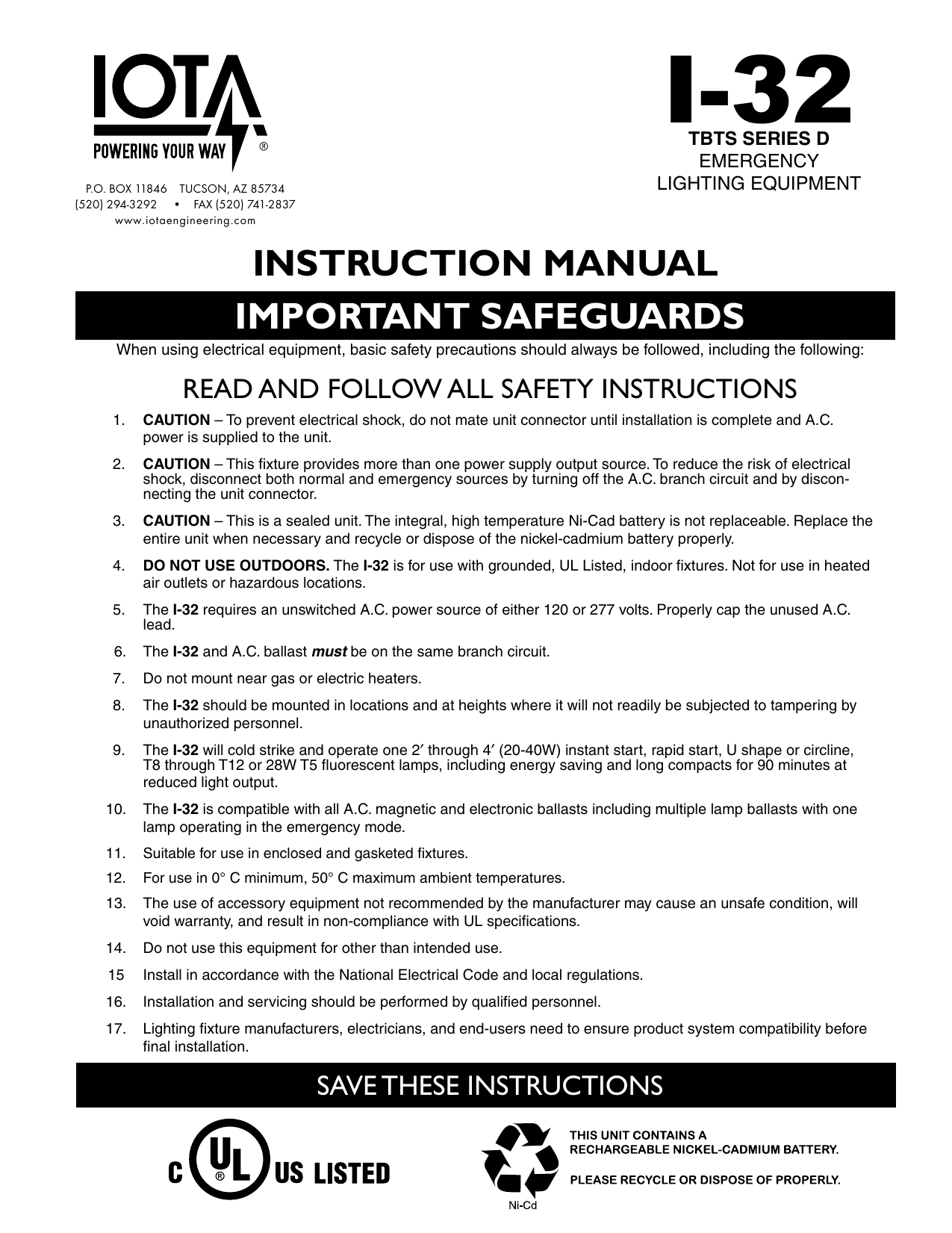 Important Safeguards Instruction Manual Emergency Lighting Wiring Together With Led Light Circuit In