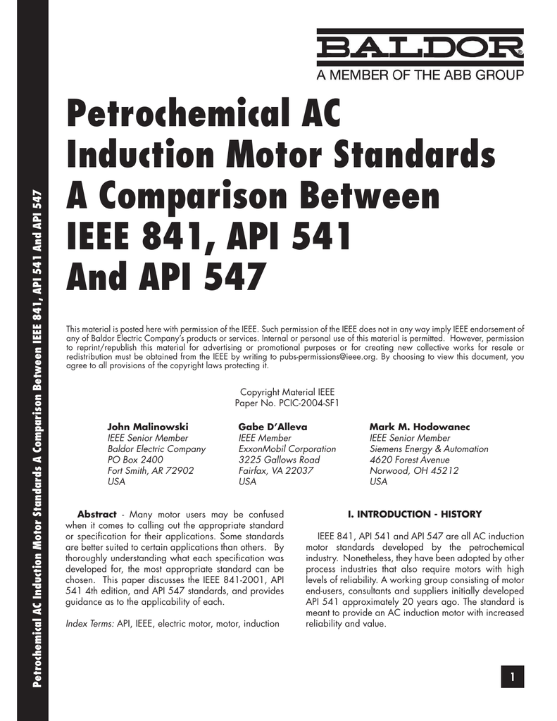 Petrochemical AC Induction Motor Standards A