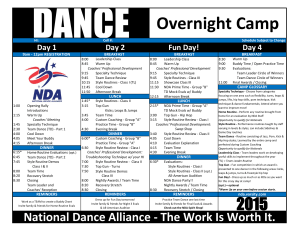 Dance Camp Schedule