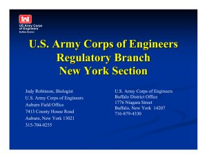 U.S. Army Corps of Engineers Regulatory Branch New York Section