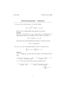 Final Examination – Solutions