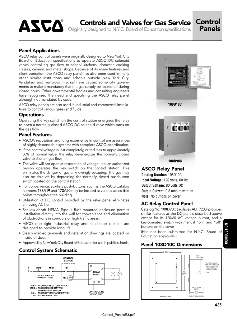 asco controls and valves for gas service