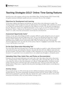 Teaching Strategies GOLD® Online: Time