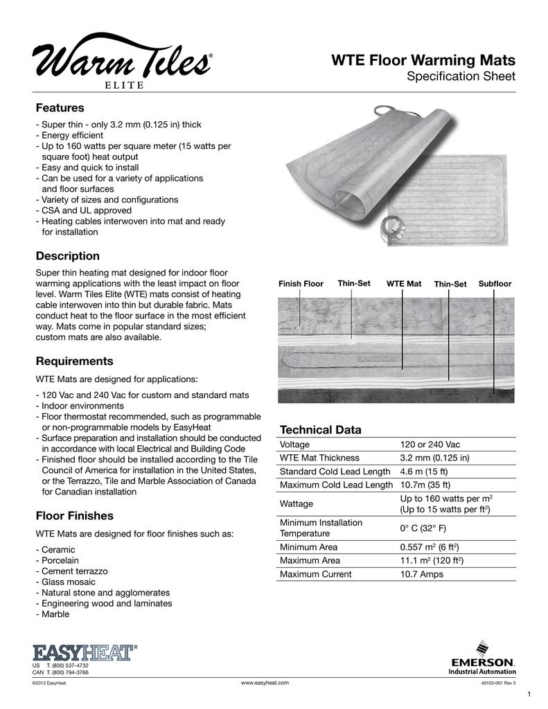 Easyheat Warm Tiles Elite Specification Sheet