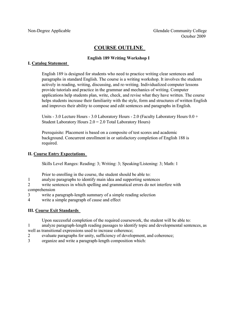 course outline - Glendale Community College