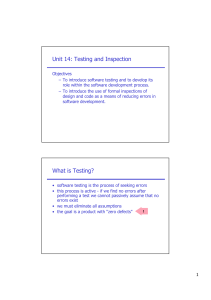 Unit 14: Testing and Inspection What is Testing?