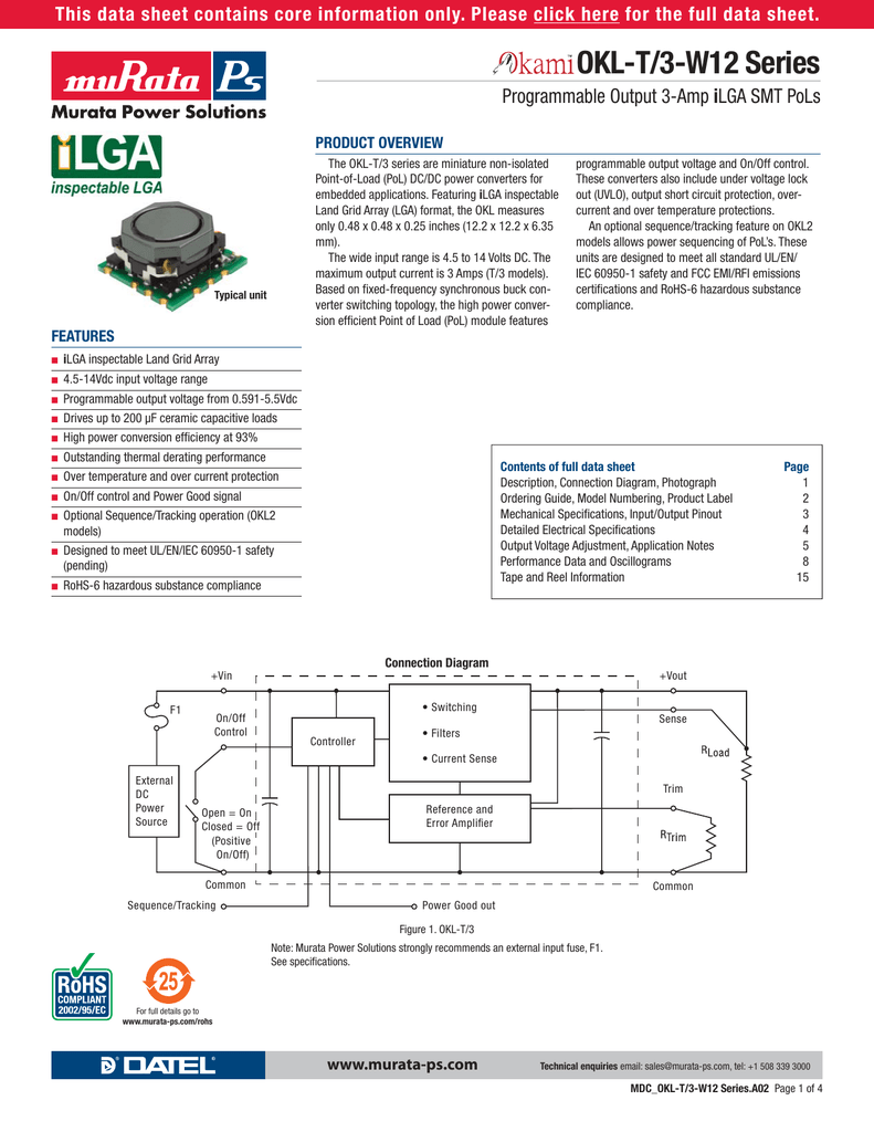 Okl T 3 W12 Series Okl2 Wiring Diagram