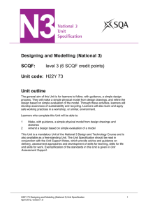 Designing and Modelling (National 3) SCQF: level 3 (6 SCQF credit