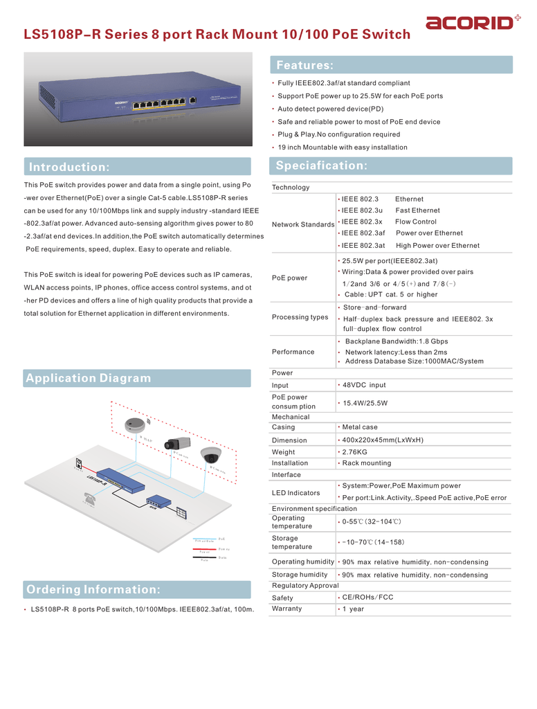 Ls5108p R Series 8 Port Rack Mount 10 100 Poe Switch Ethernet Cable Wiring Com Power Over Four Cat5