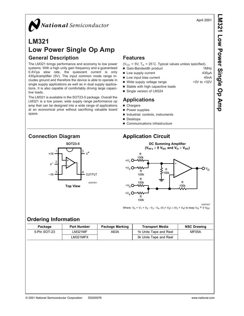 Op Amp Single Power Supply