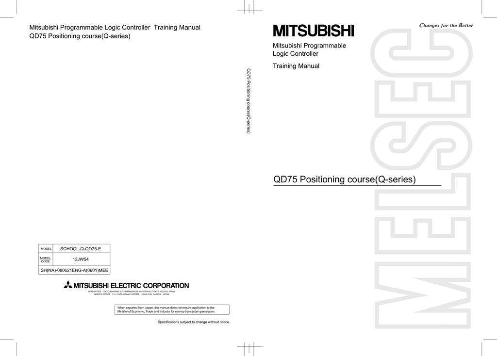 Mitsubishi Programmable Logic Controller Training Manual QD75