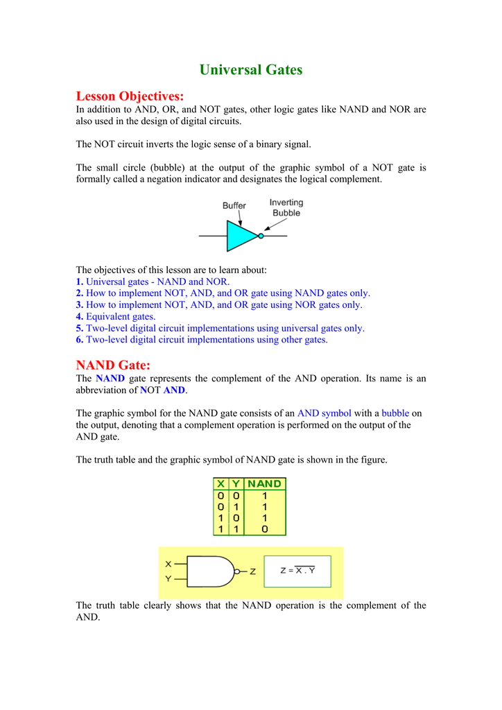 universal gates nand and norBesides Nor Gate In Nand Gates Equivalent On Gate Logic Diagram Truth #13