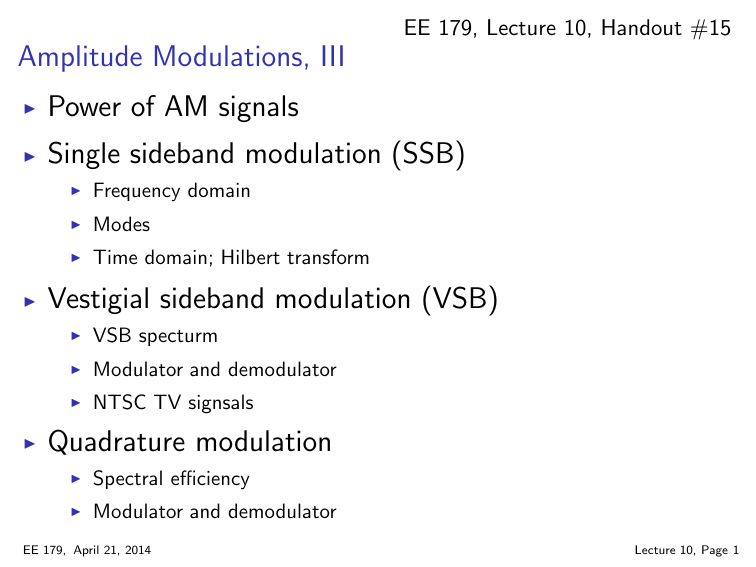Amplitude Modulations, III Power of AM signals Single sideband
